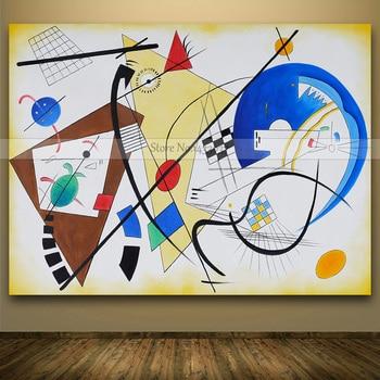 Handmade Wassily Kandinsky Geometrische Leinwand Abstrakte Moderne Leinwand  Kunst Ölgemälde Kunst Gemälde Für Wohnzimmer Wohnkultur