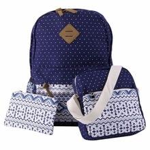 Бесплатная доставка, 3 шт./компл. модный Школьный Рюкзак Для Обувь для девочек подростков горошек леди Пеппи Стиль мешок печати Школьные сумки Топ горячей