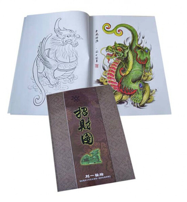 Mixed Colour Tattoo Flash Book A3 - Dragon/Warrior/Koi japanese style orient dragon tattoo flash book line drawing outline 11