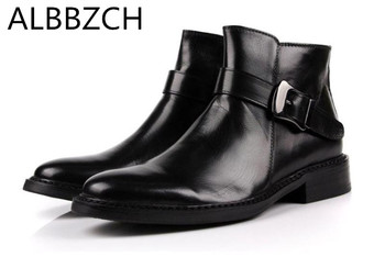Fashion buckle designer genuine leather men boots round toe zip cow leather ankle boots office work boots business dress boots