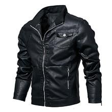 Весенняя и Осенняя новая мужская куртка пальто из искусственной кожи зимние толстые теплые пальто Байкерская мотоциклетная облегающая верхняя одежда для мужчин