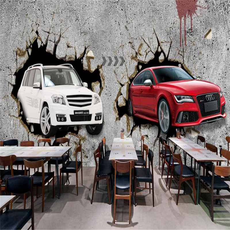 Modern Wallpaper 3d Stereo Wall Picture Boy Room Bar Hotel Study Kitchen Wallpaper Cool Style Car Come out of the Wall Wallpaper