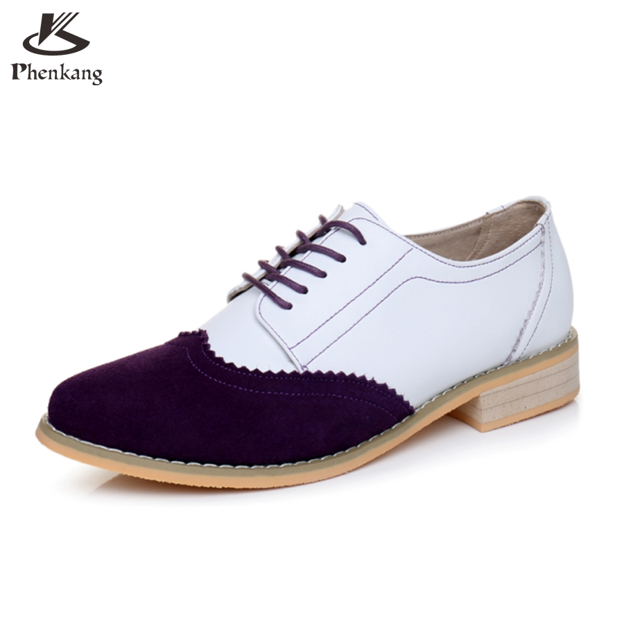 ФОТО Genuine leather big woman shoes US size 9.5 designer vintage High heels purple white handmade pumps 2017 oxford shoes for women