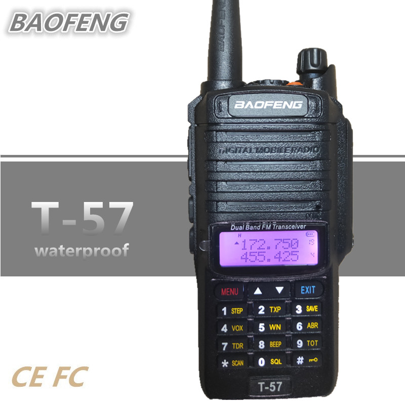 BAOFENG T-57 Waterproof IP67 10KM Walkie Talkie Professional UHF VHF Dual PTT Poratable CB Radio Station UV-9R BAOFENG T57