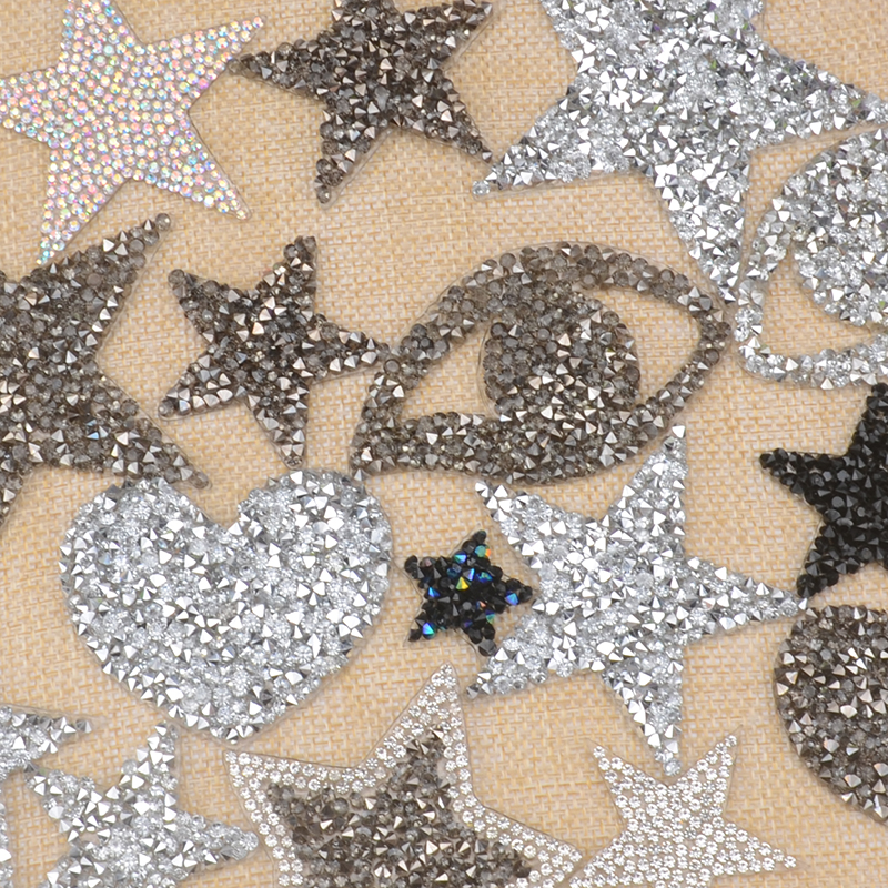 10pcs Star hotfix rhinestones heat transfer design iron on silver heart motifs  patches DIY motif Ordinary afda224631d9