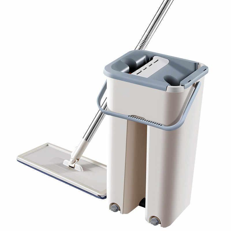 Novo Apartamento Mops Squeeze Auto Molhado E Sistema de Limpeza a Seco de Limpeza Mops Mops Microfibra Balde de Aço Inoxidável Torcendo Mão Livre