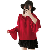 Women Red Blouses Ruffle Hem Collar Shirts Chiffin Tops Woman Lacing Up Neck Blouse Lady Romantic Crepe Top Ruffle Sleeve Shirt