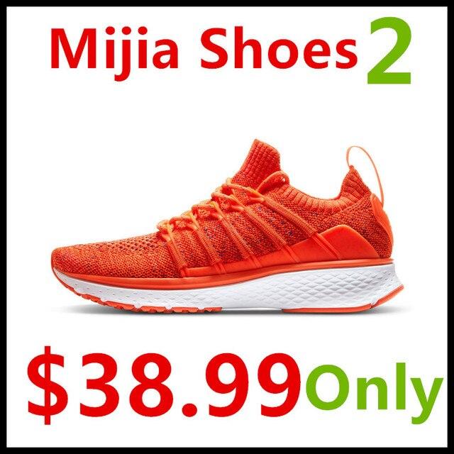 (Women) Xiaomi Mijia Sports Shoes Sneaker 2 Uni-Moulding Techinique New Fishbone Lock System Elastic Knitting Vamp Smart Sports