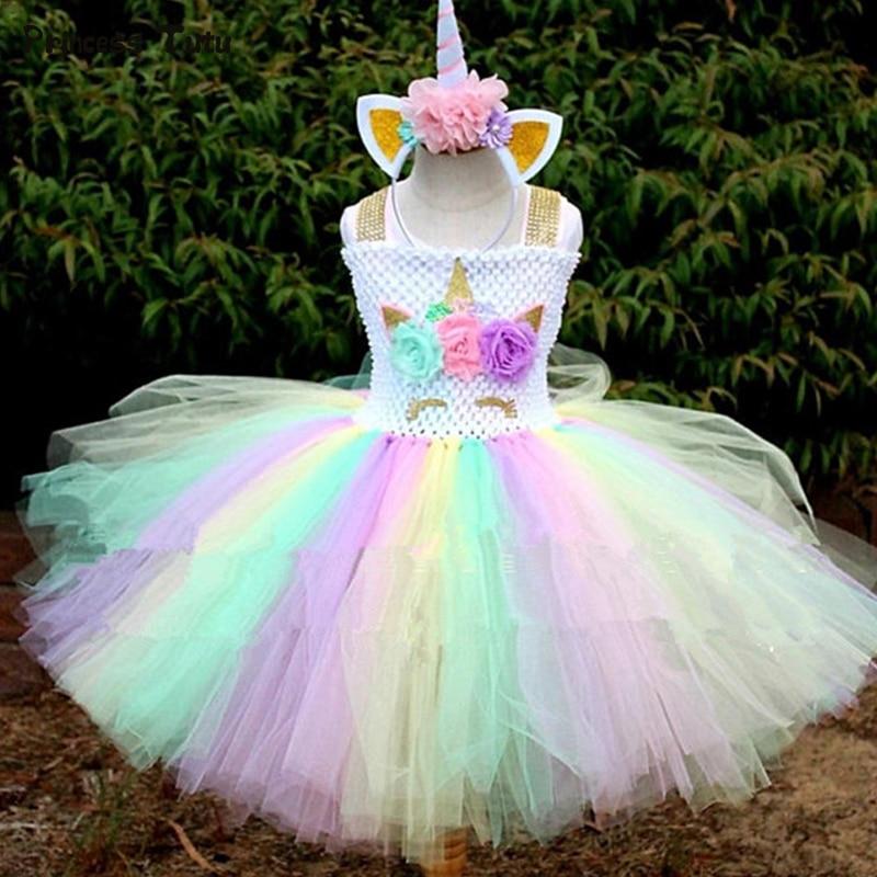 Rainbow Girls Unicorn Tutu Dress Fancy Pony Unicorn