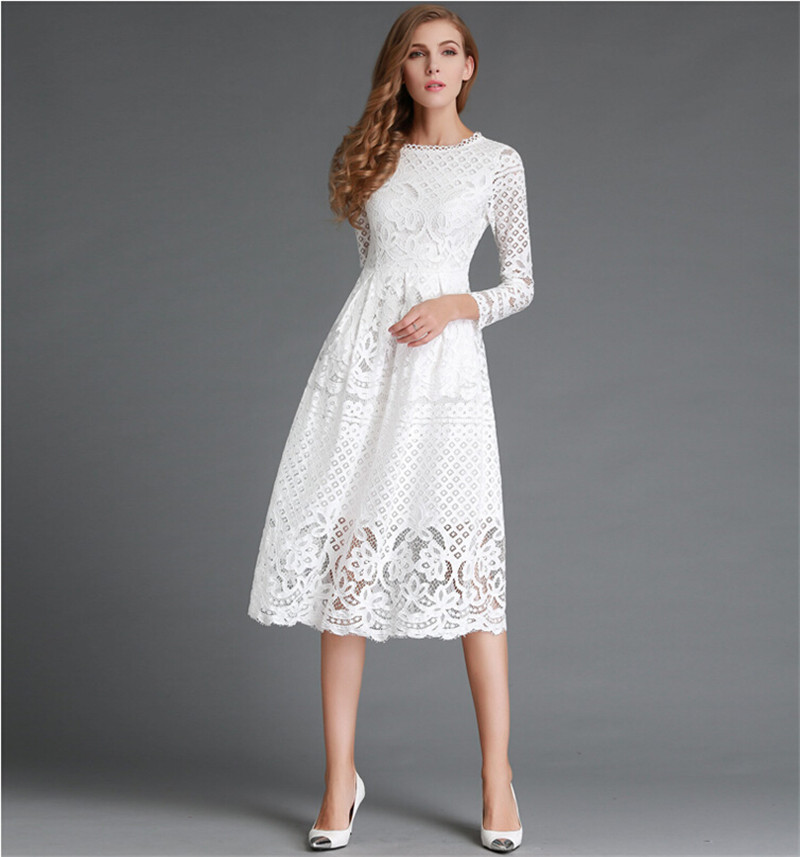 High Quality Summer Womem Dress Hollow Out White&Black Lace Elegant Party Dress Women Long Sleeve Casual Dresses DR010 ...