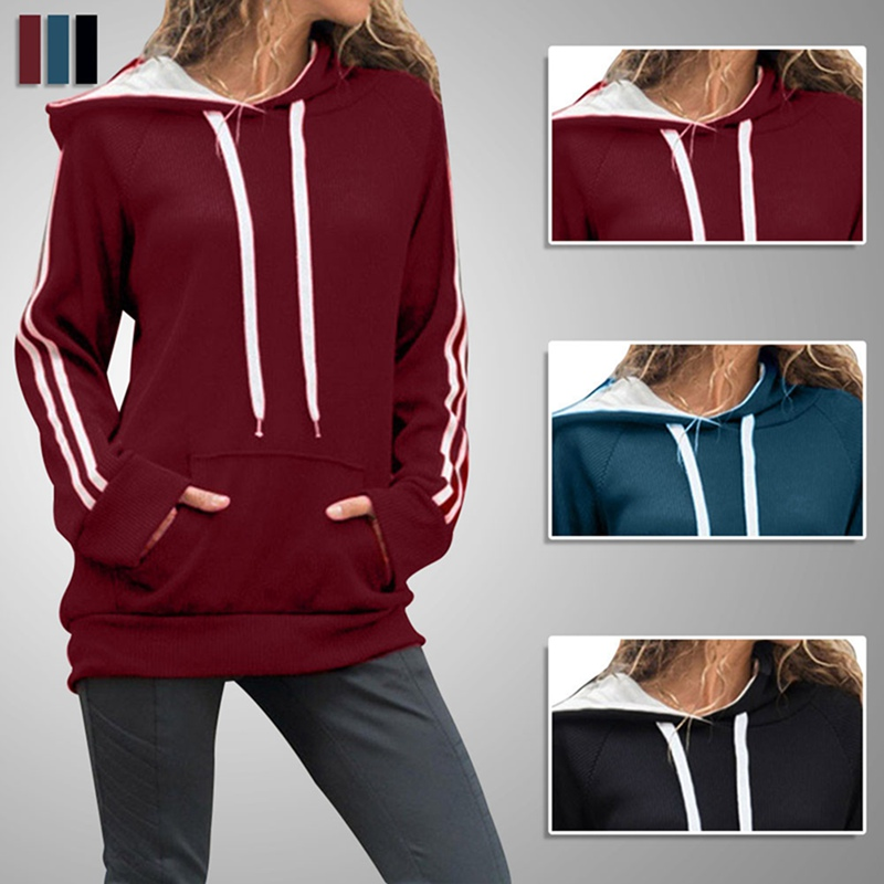 Womens Striped Long Sleeve Hoodie Sweatshirt Jumper Hooded Pullover Tops Autumn And Winter Casual Fashion Solid Color Shirt