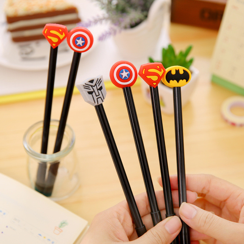 Creative Cartoon League of Legends Gel Pen Store Funny Cute Kawaii School Office Stationery Supply Supermen Captain Batman Shop 5packs lot 10 colors new cute cartoon colored gel pen set kawaii stationery gift office
