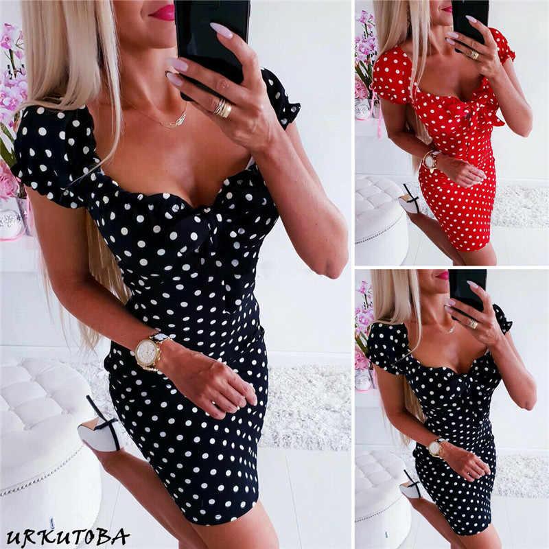 Frauen Boho Polka Dot Sexy Bodycon Kleid Sommer Urlaub Sommerkleid 2019 Neue