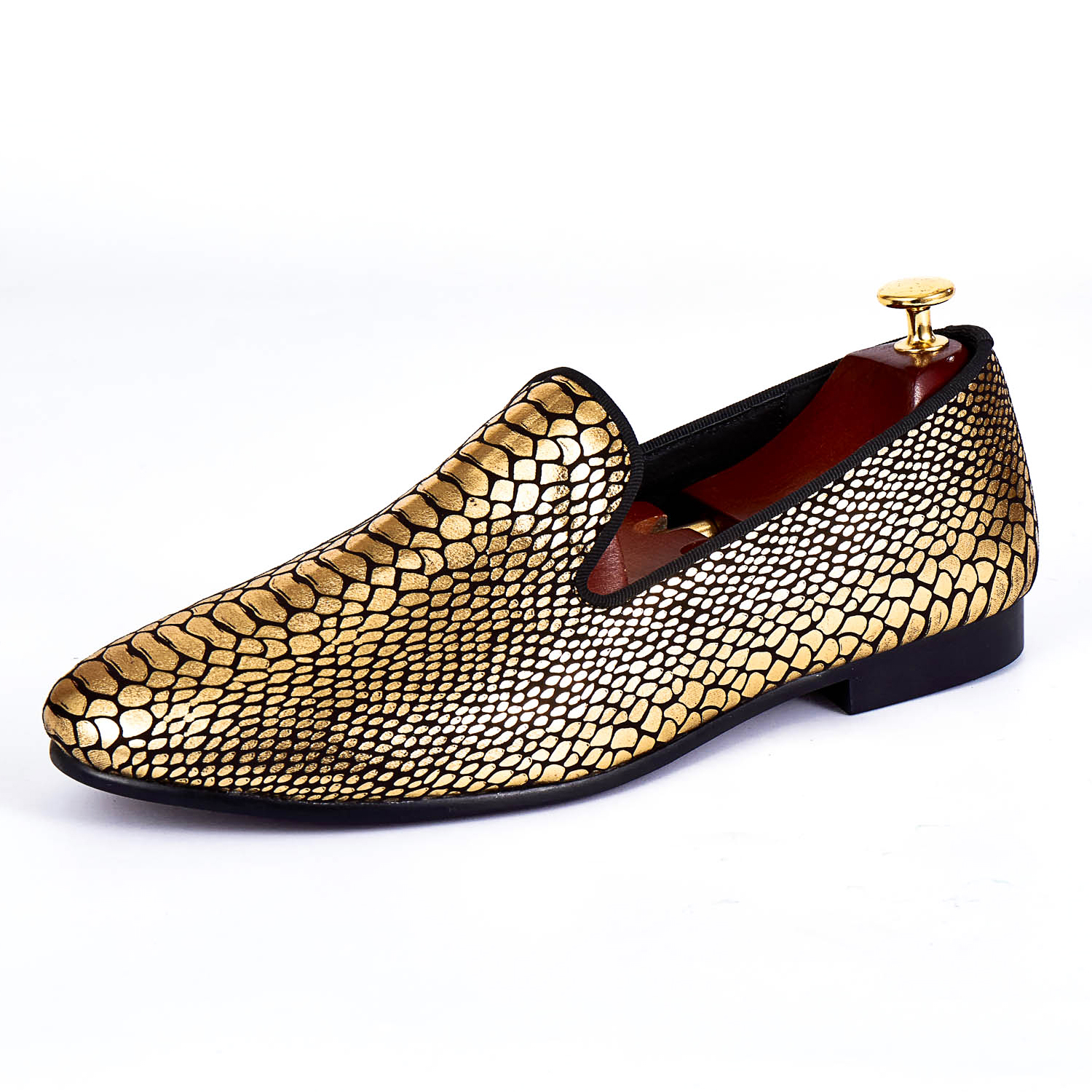Harpelunde Gold Paisley Printed Men Shoes Fashion Velvet Loafers Handmade Flats Size 7-14