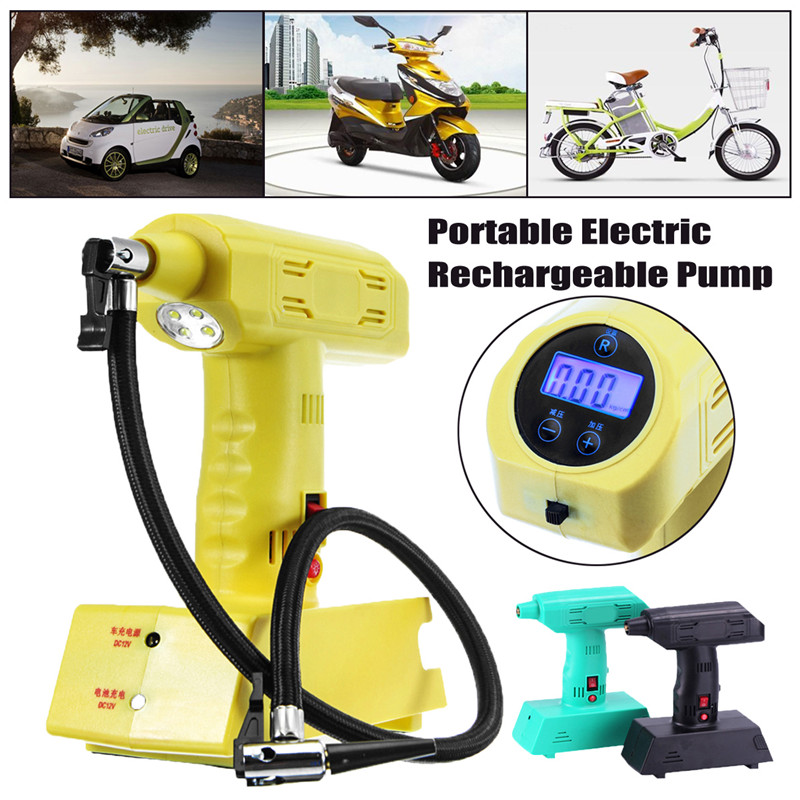 1Pcs Wireless Portable Electric 12V Cordless Rechargeable Car Bike Air Pump Compressor Tire Inflator High Quality electric tire inflator air pump portable tiny smart for electric bike mountain bicycle