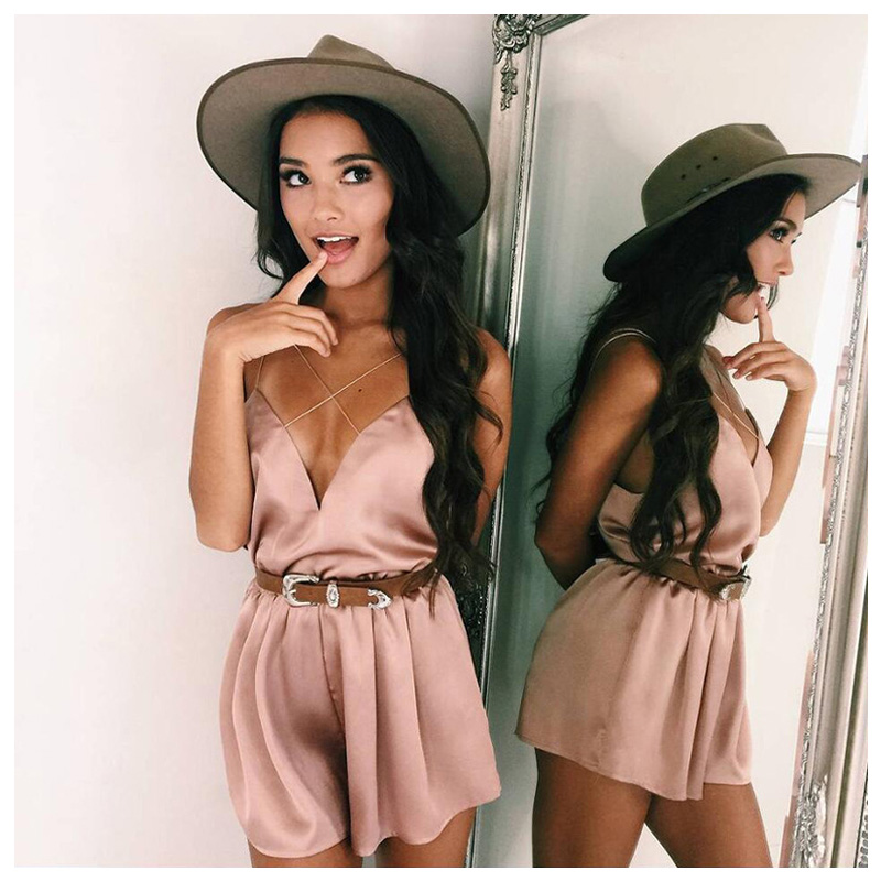 IMC Women Ladies Cross Strap Jumpsuit Bodice Romper Women Satin Bodysuit short overalls Sexy V Neck Playsuit Leotard One Piece