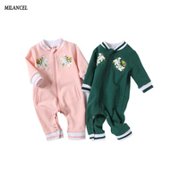 Milancel 2017 Autumn Newborn Baby Boys Clothes V Neck Baby Girls Rompers Casual Girls Jumpsuits Cotton