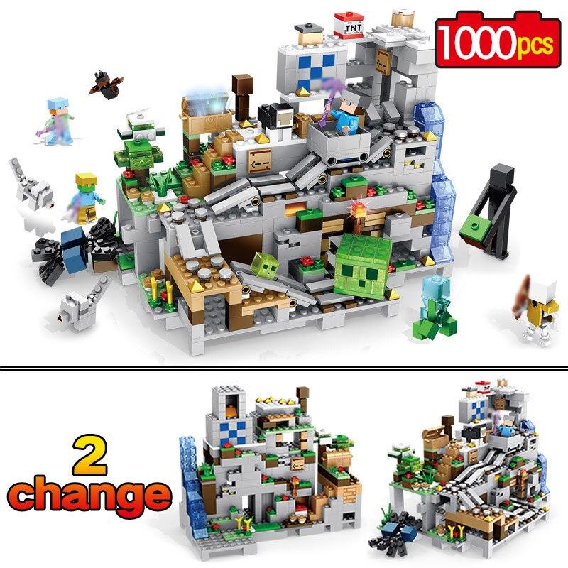Neue Meine welt Modell Bausteine Kompatibel LegoINGLYS Minecraft Der Berg Cave Mit Aufzug Ziegel Spielzeug Für Kinder