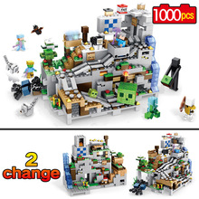 Новый мой мир модель здания Конструкторы Совместимость LegoINGLYS Minecraft горная пещера с лифтом кирпичи игрушечные лошадки для детей
