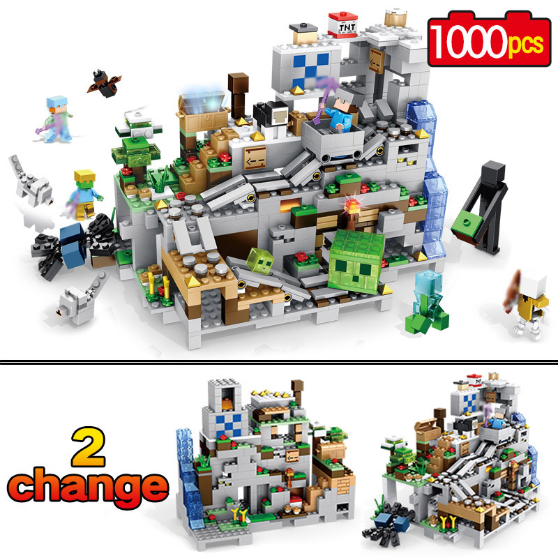 Nuevo mi mundo modelo de construcción bloques Compatible LegoINGLYS Minecraft la cueva de montaña con ascensor ladrillos juguetes para los niños