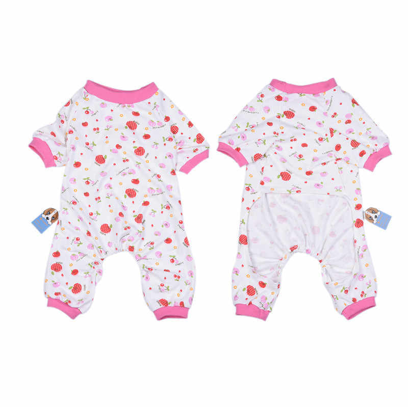 Cotton Jumpsuits Pink cherry pattern clothes for Pet Dog Cute Cherry Design Pet Dog Soft Cloth Puppy Dog Clothing Clothes