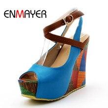 ENMAYER 5 colors Fashion Womens Wedges Shoes High Heels Platform Open Toe Ankle Straps Sandals Summer Pumps Free Shipping 34-39