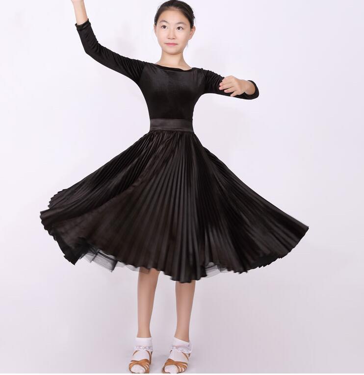 Kids Ballroom Dress Standard Competition Ballroom Dance Dress  Girl Kids  Child Modern/Waltz Dress Black