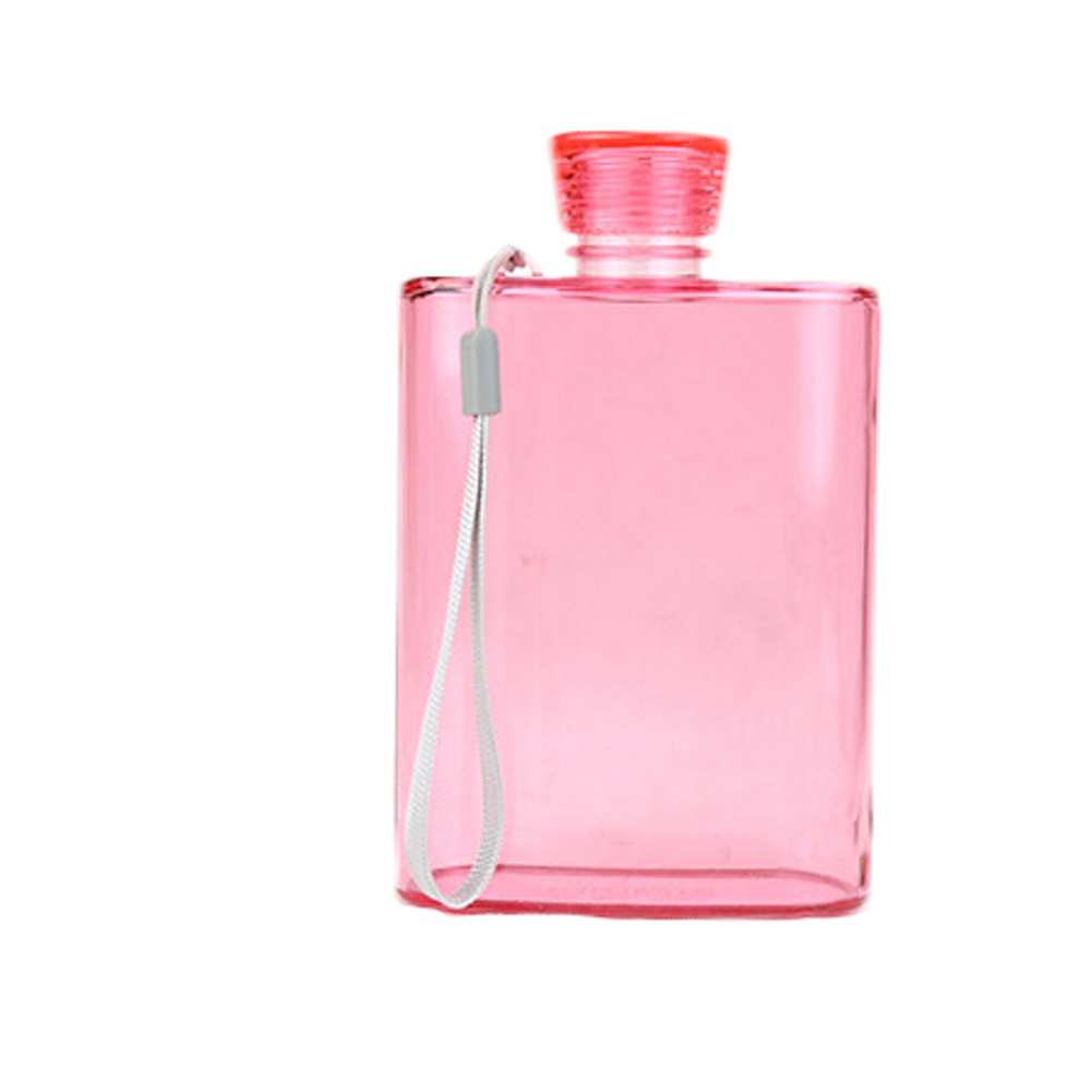 New Creative Paper Fashion Flat Plastic Hip Flask AS Environmentally Friendly Portable Kettle 400ml 16*10.1cm Sport Water Bottle