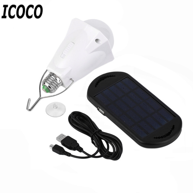 New Portable Energy Conservation 200LM LED Bulb Light with Solar Panel+USB Charging Line Outdoor  sc 1 st  AliExpress.com & New Portable Energy Conservation 200LM LED Bulb Light with Solar ...