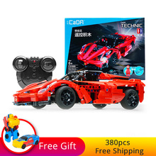 380pcs Building Blocks Bricks Technic Series Racing RC Car Red Storm Model Remote Control Sports Cars Toy For Boy Christmas Gift