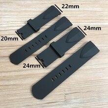 22 мм 24 мм черная силиконовая резина Ремешки для часов для чашки Corum ADMIRAL'S Wacth Ремешок Браслет без пряжки