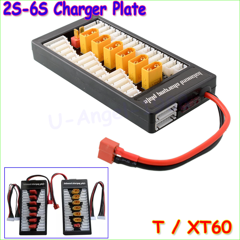 1pcs Lipo Parallel Charging Board parallel 6 batteries Charger Plate XT60 / T Plug for Imax B6 B6AC B8 6 in1 RC FPV Quadcopter