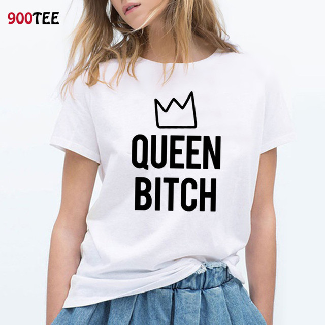 efab6858306 Queen Bitch Printed T Shirt Women Funny Letter Summer Clothing Plus Size  Tee Shirt Casual Tops Fashion Streetwear Tshirt