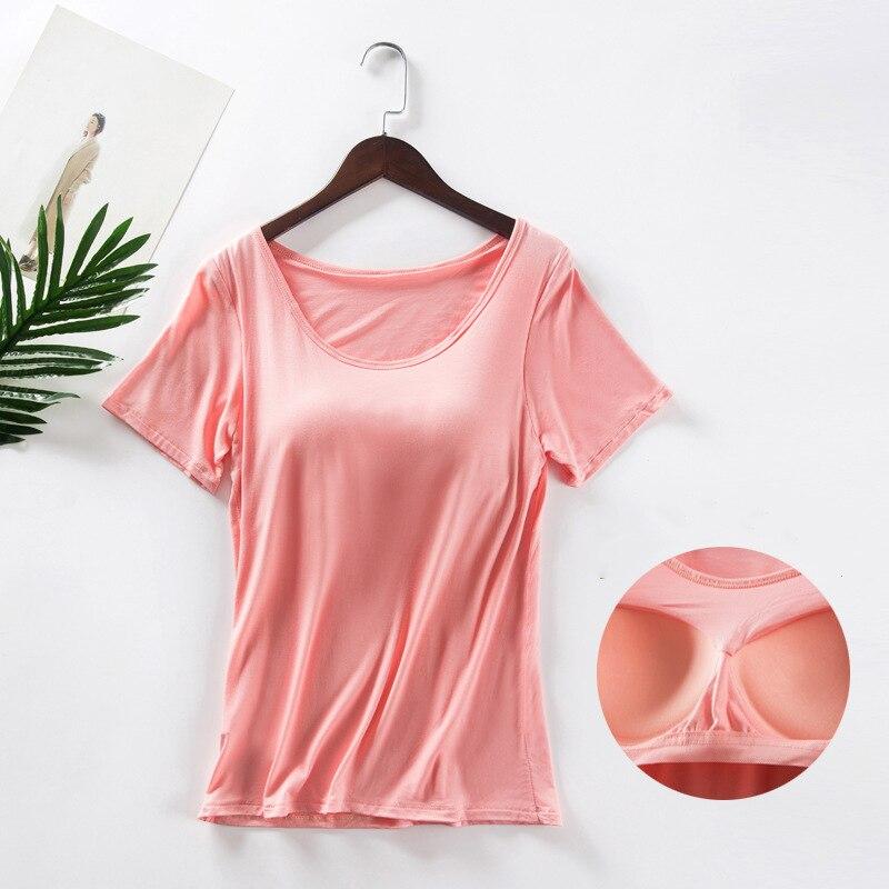 T-Shirt Das Mulheres Verão 2019 Construído Em Bra O Sólido Pescoço Vermelho Preto de Manga Curta Camisa Top das Mulheres Modal Mais tamanho D190513