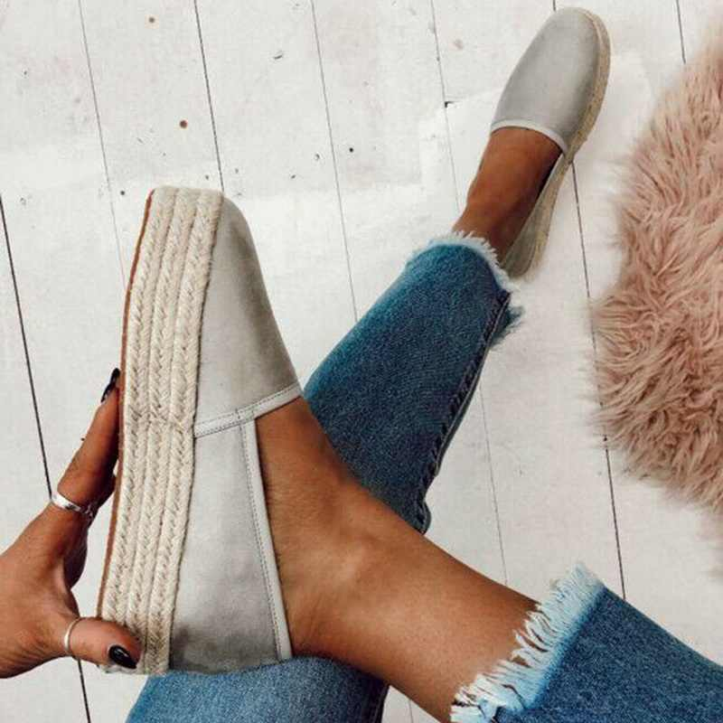 Adisputent Espadrilles Women Flats Shoes Slip On Casual Ladies  Shoes thick bottom Lazy Loafers Female Espadrilles 2019
