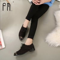 Brand Oxford Shoes For Women Autumn Womens Low Heel Oxfords Shoes Suede Leather Flats Zapato Lace