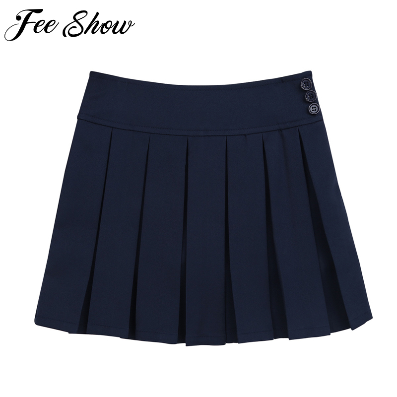 New Girls Skirts Cotton Japanese High Waist Pleated Skirts Girls School Uniforms 4 to14 Years Preppy Style Teenage Kids Skirts