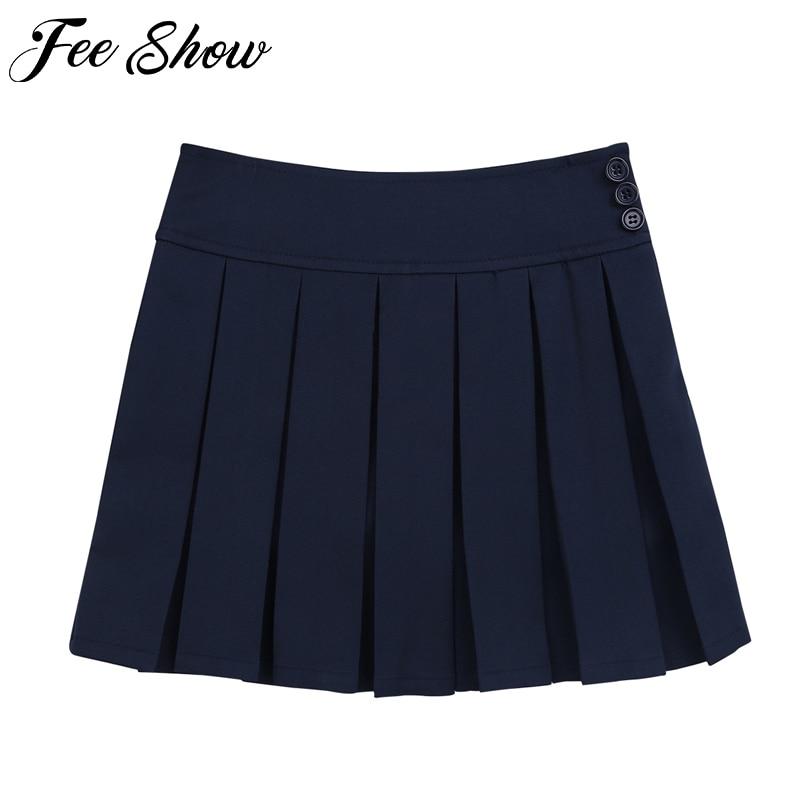 New Girls Skirts Cotton Japanese High Waist Pleated Skirts Girls School Uniforms 4 to14 Years Preppy Style Teenage Kids Skirts plain bowknot designed midi skirts