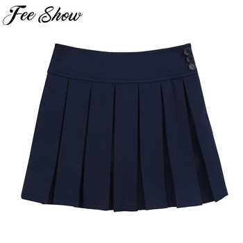 New Girls Skirts Cotton Japanese High Waist Pleated Skirts Girls School Uniforms 4 to14 Years Preppy Style Teenage Kids Skirts - DISCOUNT ITEM  31% OFF All Category