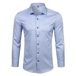 Image 3 - Mens Bamboo Fiber Dress Shirts Casual Slim Fit Long Sleeve Chemise Homme Formal Office Wear Elastic Social Shirts Purple 4XL