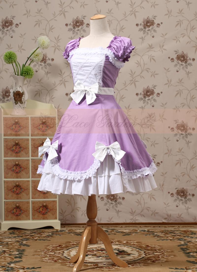 Vintage Palace Lolita Embroidery Lace Bow Purple Yellow White Color Short Sleeve Dress England