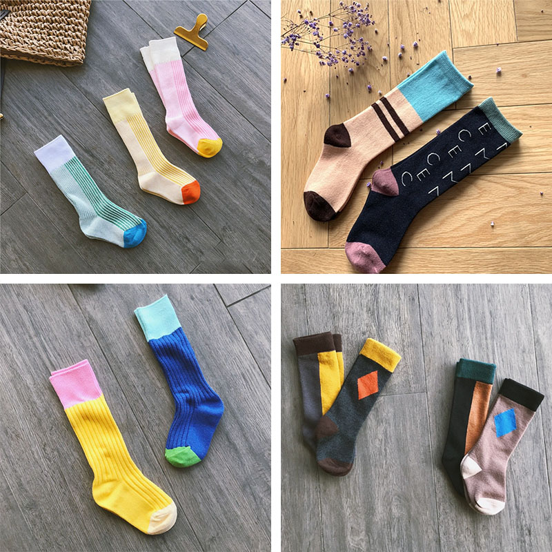Baby Kids Socks Korean Baby Tube Socks Fashion Letter Print Kids Tube Socks Cotton Toddler Knee Length Tube Sock