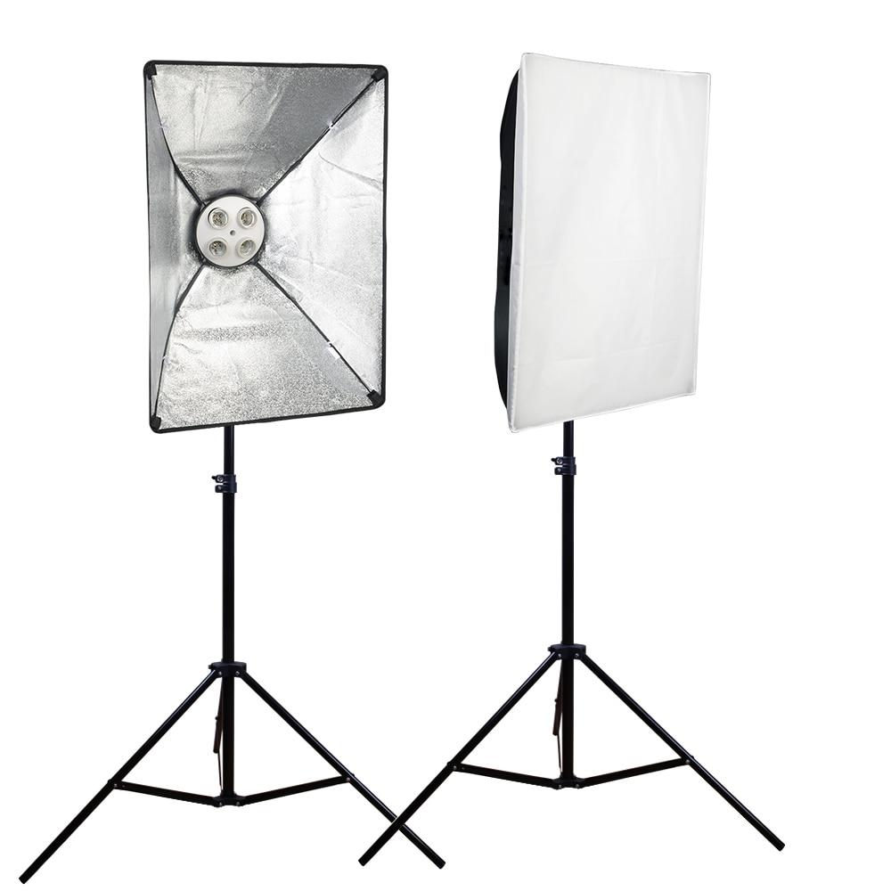 Prix pour SUPON 2 PCS E27 4 Socket Stand Photo Lampe Ampoule Titulaire Support + 50 cm * 70 cm Softbox + 2 m Lumière stand Kit