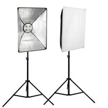 SUPON 2 PCS E27 4 Socket Stand Photo Lampe Ampoule Titulaire Support + 50 cm * 70 cm Softbox + 2 m Lumière stand Kit
