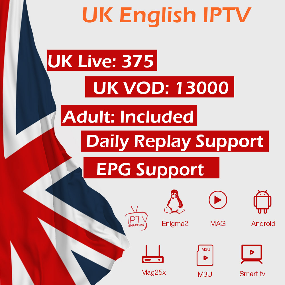 UK English IPTV Subscription Europe IPTV Adult XXX IPTV M3U Support Android Smart TV MAG Enigma2