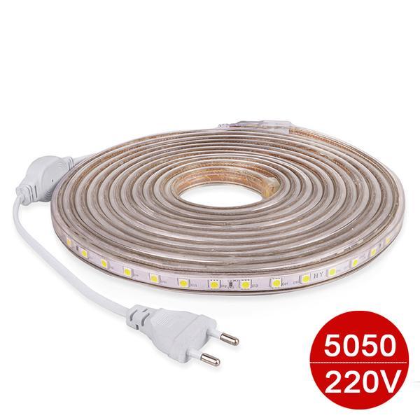 Tira de luz LED 220V a prueba de agua 5050 LED luz flexible cinta led con enchufe de la UE 1M 2M 15M 20M 60 leds / metro PARA sala de estar decoración