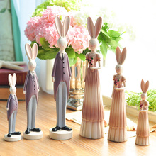 European Pastoral Retro Resin Couples Rabbit Figurines 2PCS/SET bridal chamber Wedding wine cabinet Home Decoration gifts
