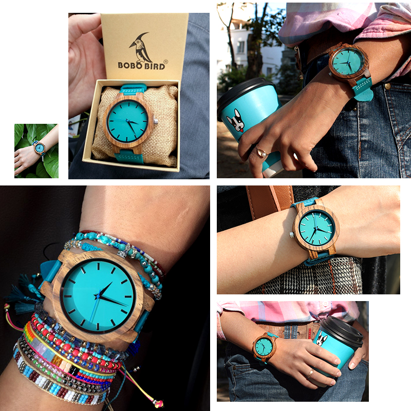 BOBO BIRD  Turquoise Blue Zebra Wooden Timepieces WC28
