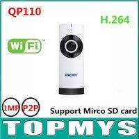 4 pz/lotto Escam Moai QP110 Mini WiFi IP Camera Fish Eye 720 P 1MP Infrarossi Indoor Camera 185 Gradi Grandangolare fino a 128 GB TF carta