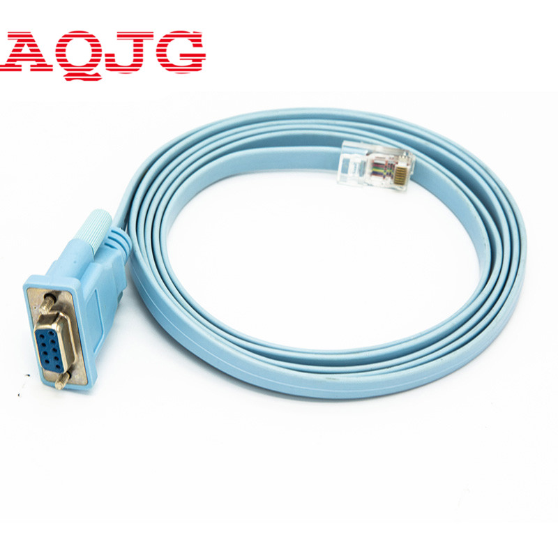 Free Shipping Network RJ45 to RS232 COM Port Serial DB9 Female Router Console Cable Adapter For Cisco Huawei networking cables